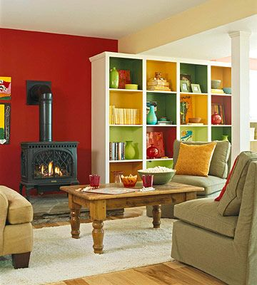 interesting: Living Rooms, Bold Color, Open Floors Plans, Book Shelves, Basements Ideas, Families Rooms, Basements Remodel, Accent Wall, Rooms Color