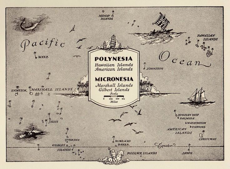 Neat OCEANIA Map POLYNESIA Map 50s Picture Map PACIFIC ISLANDS Map 1332