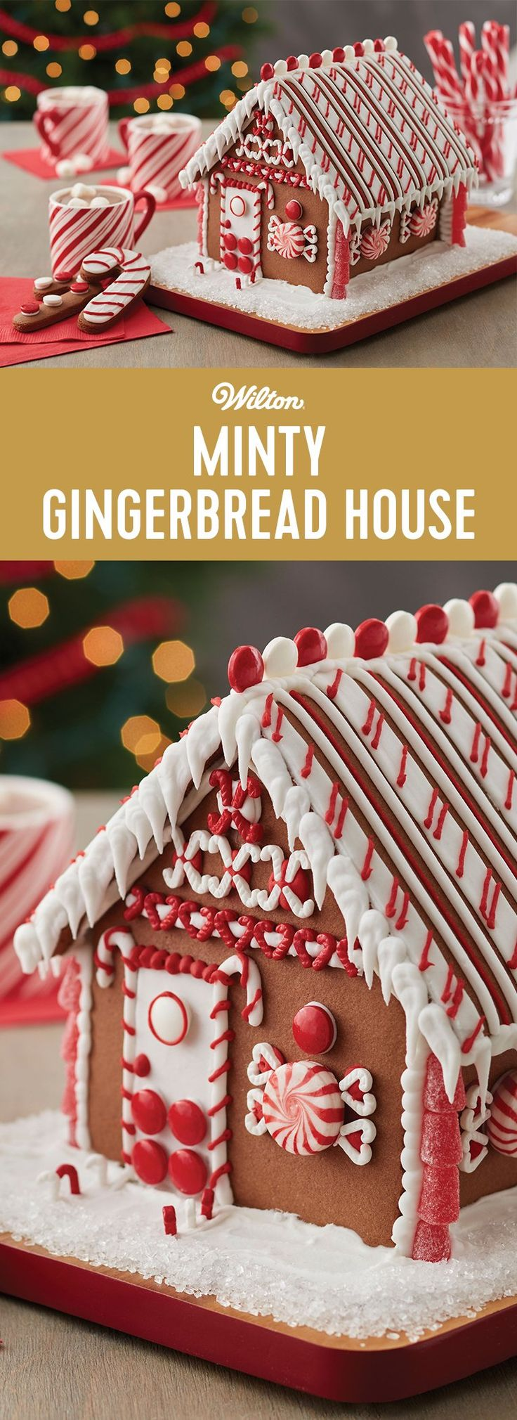 Minty Gingerbread House - One look and you won't be able to wait to decorate this chocolate cookie house kit, bright with visions of peppermint colors and candy. Sharing the activity of decorating this house together makes the entire family merry!