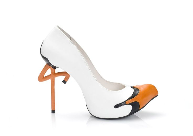 Stork A clear white leather was chosen for the Stork to accent its majestic look and contrast with its shiny orange beak. The extra thin stiletto heel gives lightness to the large, heavy body and easily carries it. This heel was especially designed for the bird triplet, who also includes the Flamingo and the Ostrich. - See more at: http://kobilevidesign.com/index.php/footwear/stork.html#sthash.OXgoTXsn.dpuf $1,960.00