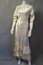 Sensational Vtg 1930s Harlow Liquid Satin Bias Cut Wedding Frou Frou Gown Dress