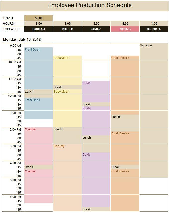 Employee Production Schedule Template Vivi Schedule Templates