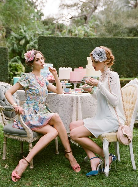 Easter Desserts + Gorgeous Spring Shoot with Ruche | My Sweet and Saucy!  Love this pic of two friends having tea and deserts!  Aline