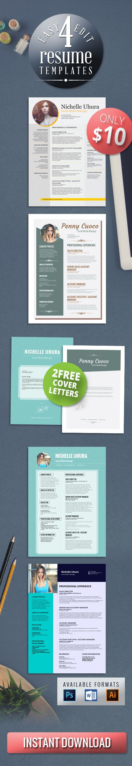 best ideas about resume maker resume 4 resume templates bundle 2 cover letter templates professional design creative