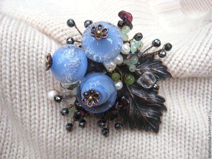 """Купить брошь """"В голубые дали"""" - комбинированный, брошь ручной работы, авторский лампворк"""