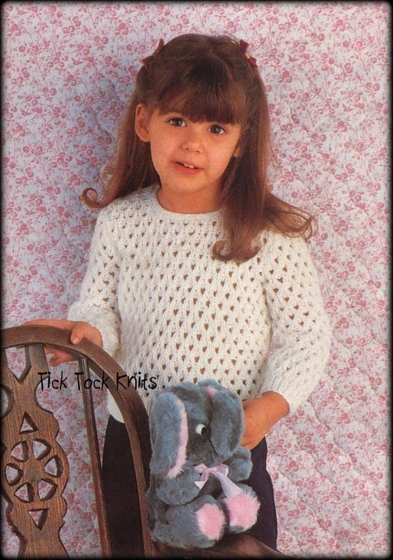 No 666 Girl S Mesh Sweater Knitting Pattern Pdf Vintage For Baby