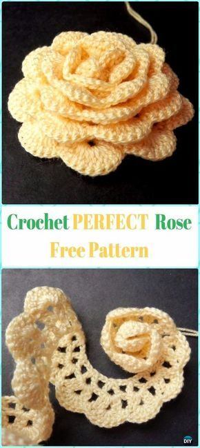 Perfect Crochet 3D Rose Flower Free Pattern #Crochet;