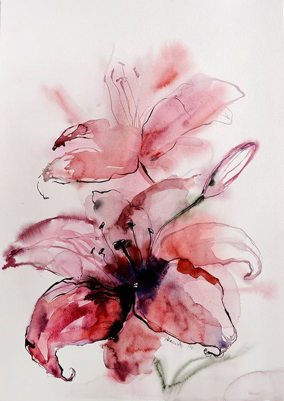 Items similar to Pink lily painting. Original watercolor painting of a flower. Unique gift for her. Floral wall art for home. on Etsy