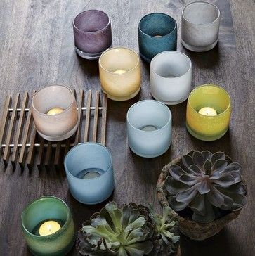 Colored Glass Tealight Holders | west elm  candles and candle holders