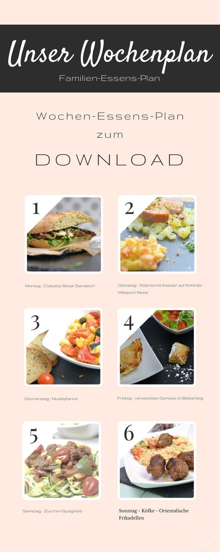 Na Was Koche Ich Denn Heute Unser Wochenplan Feiersun De Essen Planer Lebensmittel Essen Essen