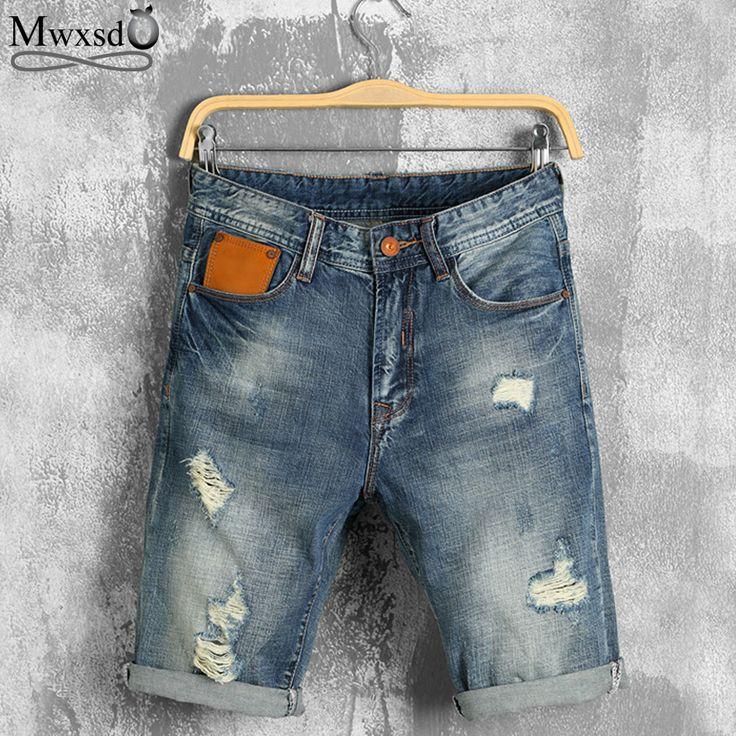 Mwxsd Brand 2017 New  Mens Denim Shorts  Summer Regular Casual Knee Length Short Bermuda Masculina Hole Jeans Shorts For Men