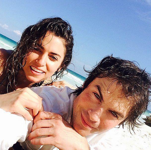 Nikki Reed and Ian Somerhalder celebrated Valentine's Day 2015 on the beach.