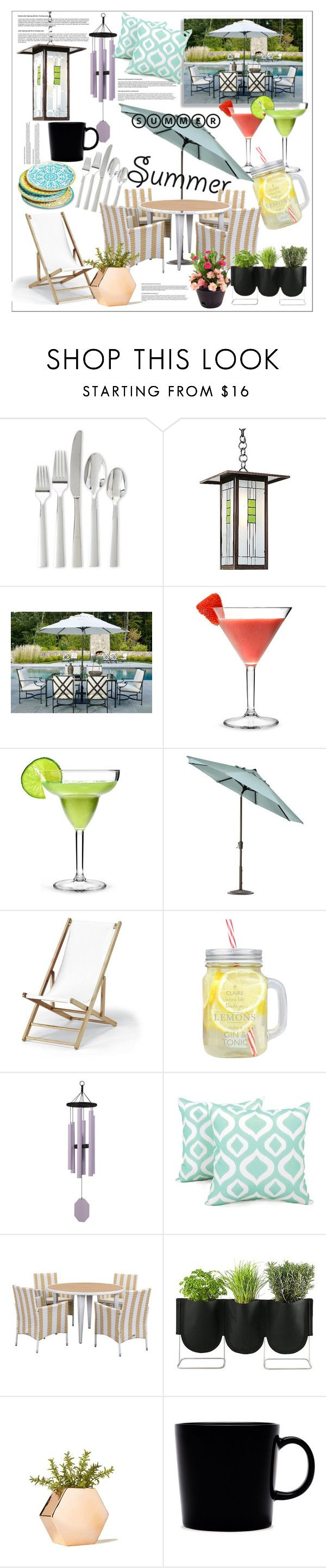 """#45 Summer outdoor dining !😍"" by andreea-cris ❤ liked on Polyvore featuring interior, interiors, interior design, home, home decor, interior decorating, Oneida, Universal Lighting and Decor, Home Decorators Collection and Telescope Casual"