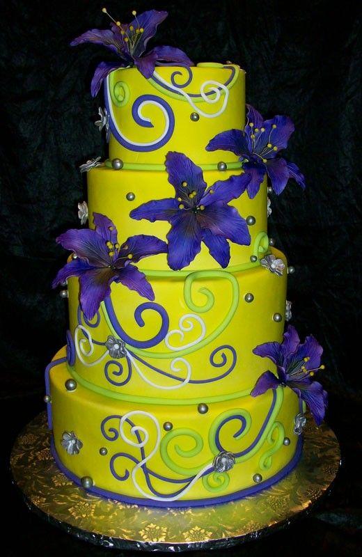 Blue Purple And Neon Green Wedding Cakes Neon Yellow