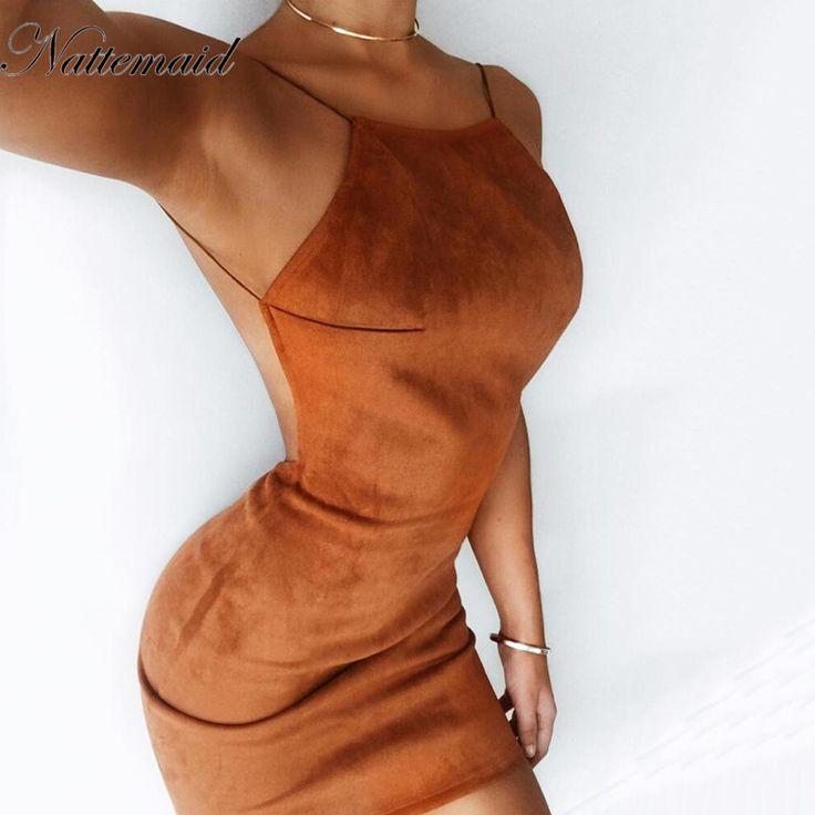 Nattemaid 2017 женщины спинки платья весенние замшевые модные открытые летние одноцветное Bodycon Midi платье для женщин Vestido купить на AliExpress