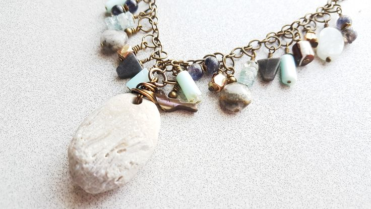 Lake Michigan Fossil Stone Charm Necklace by theglassbird on Etsy