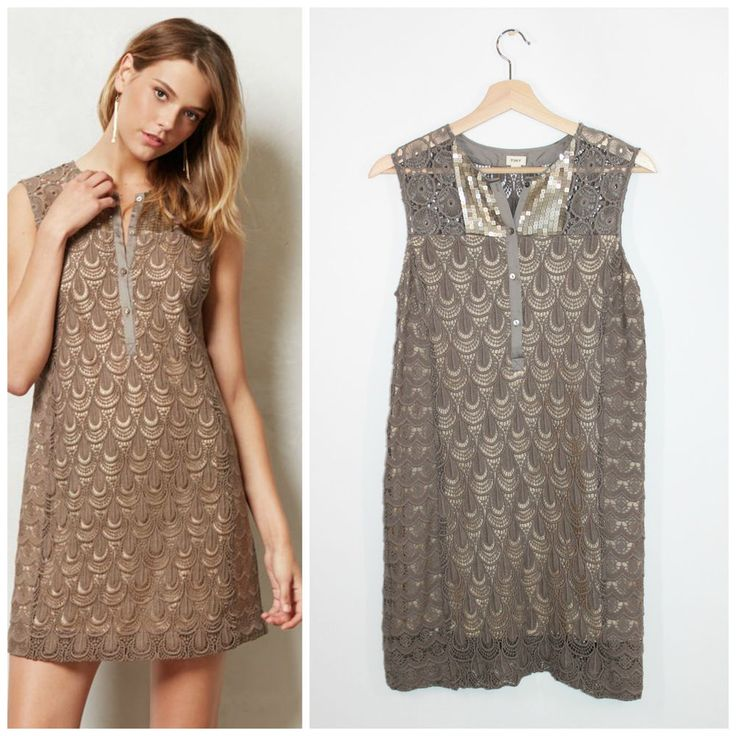 Anthropologie Tiny Shimmered Crochet Lace Gray Taupe Boho Sequin Shift Dress XS #Anthropologie #Shift #Casual