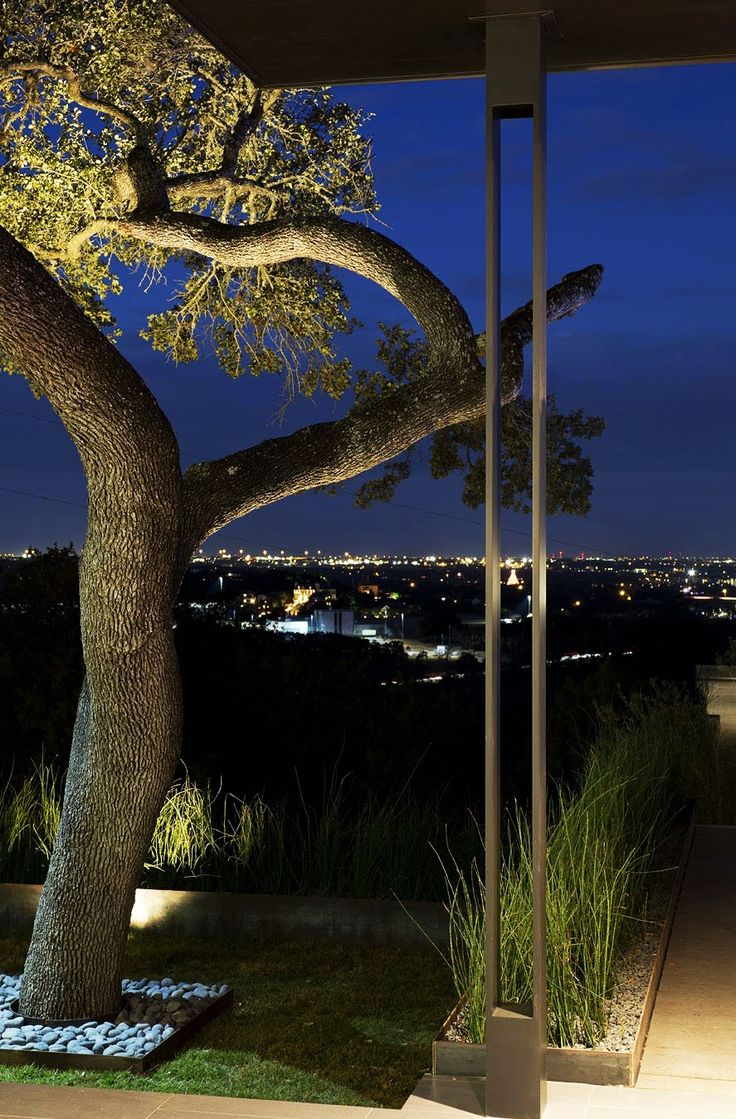 Home Design, Impressive Night City View Seen From Skyline House Terrace Area With Old Leafy Tree Growing With Pebbles: Captivating Modern House Design Ideas with Infinite Swimming Pool