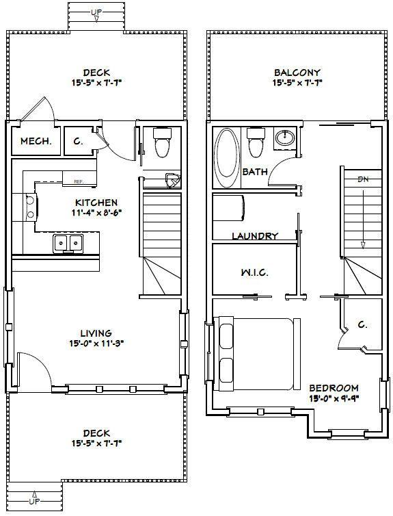 16x24 House 16x24h1b 1 075 Sq Ft Excellent Floor Plans Floor Plans Narrow Lot House Plans House Plans