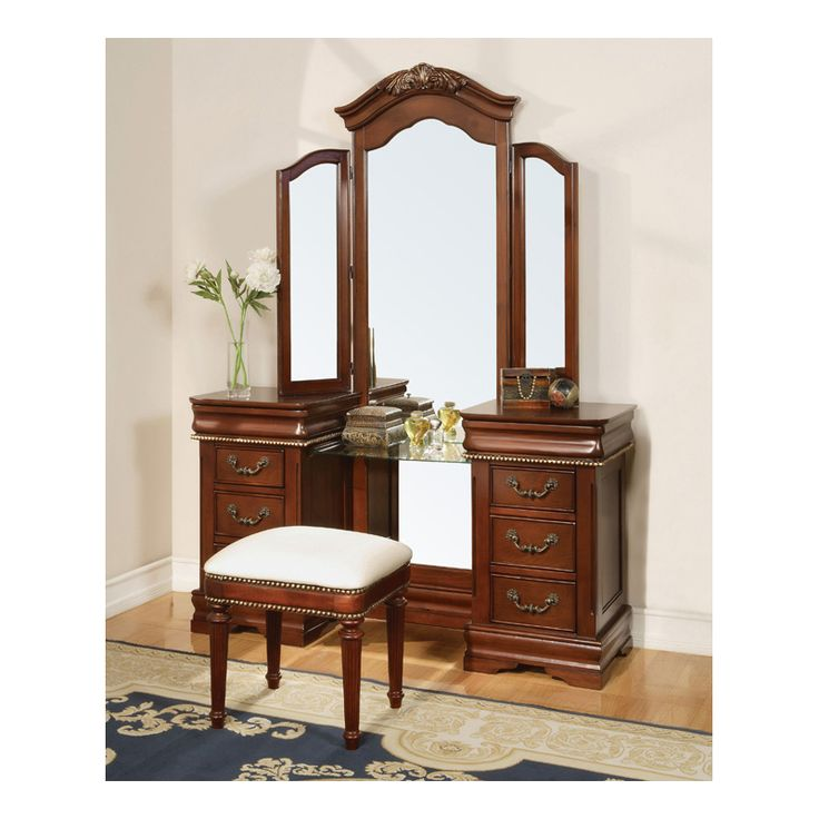 3 pc Classique collection cherry brown finish wood make up vanity dressing table set with tri fold mirror  This set includes the Vanity table set with
