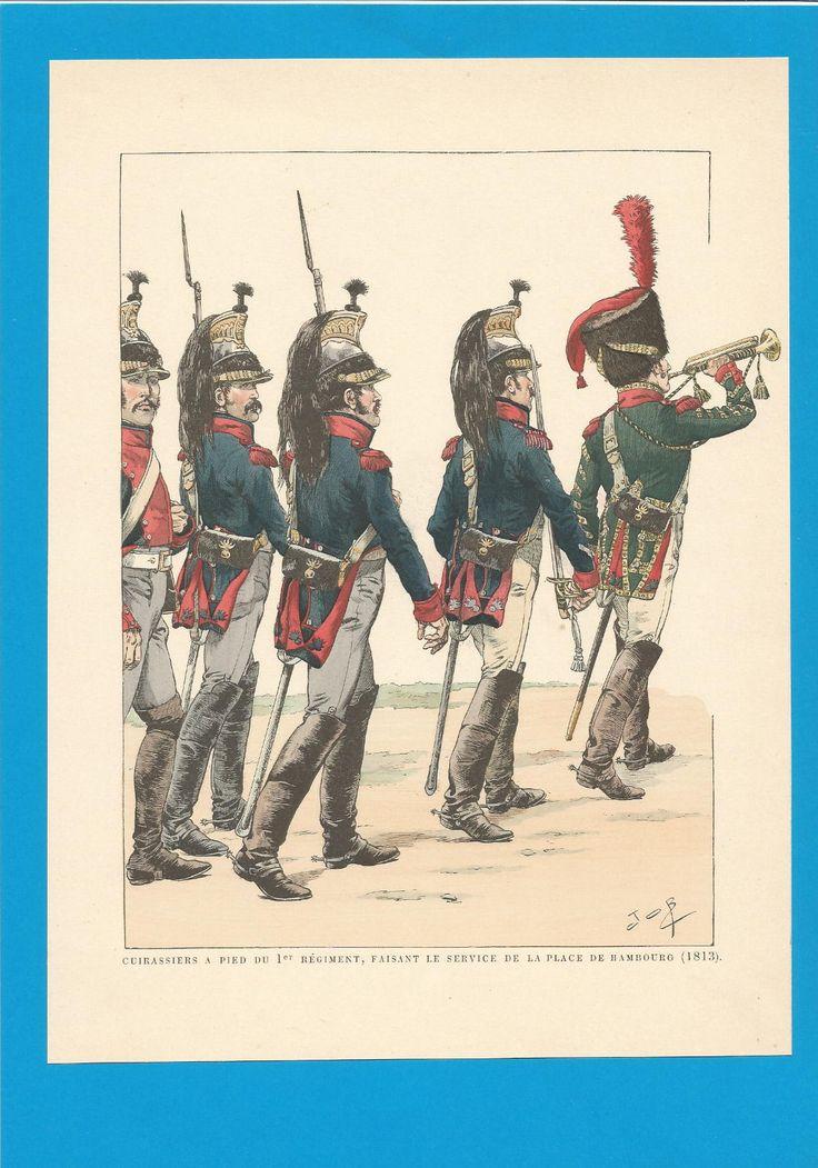 France - Planche de JOB - 1813.CUIRASSIERS. 1er Régiment.Service à pied.