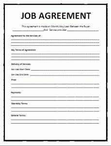 Job Agreement Template