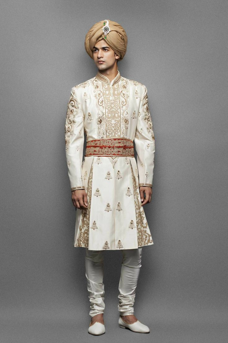 Cream kalidar sherwani with stole