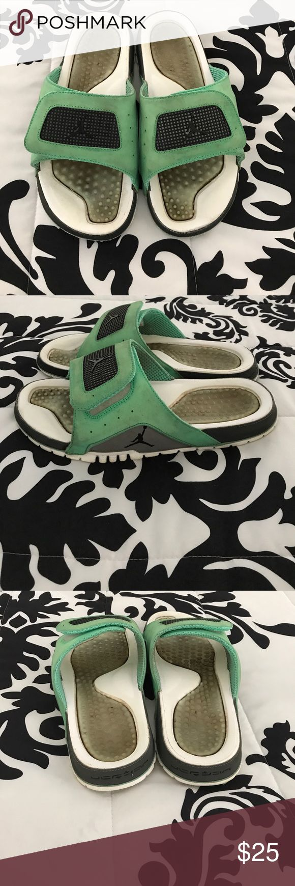 Air Jordan Slides Air Jordan Slides. They have velcro and are very comfortable. Have been used, but are still in good condition. Perfect for the beach or relaxing. Air Jordan Shoes Sandals & Flip-Flops
