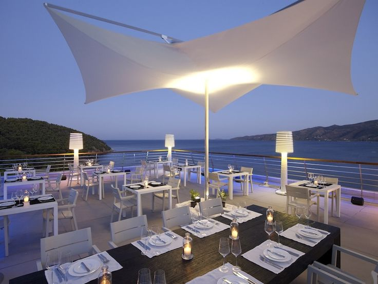 The roof garden at Sirene Blue Resort Hotel, Poros, Greece