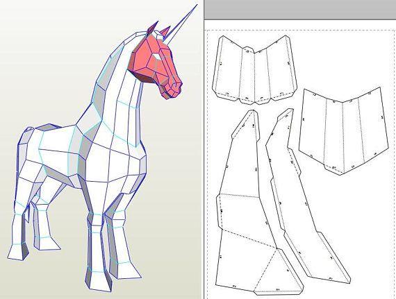 Papercraft Unicorn  Licorne Printable 3d Paper Craft Model  Animal Head Trophy  Sculpture  Pdf
