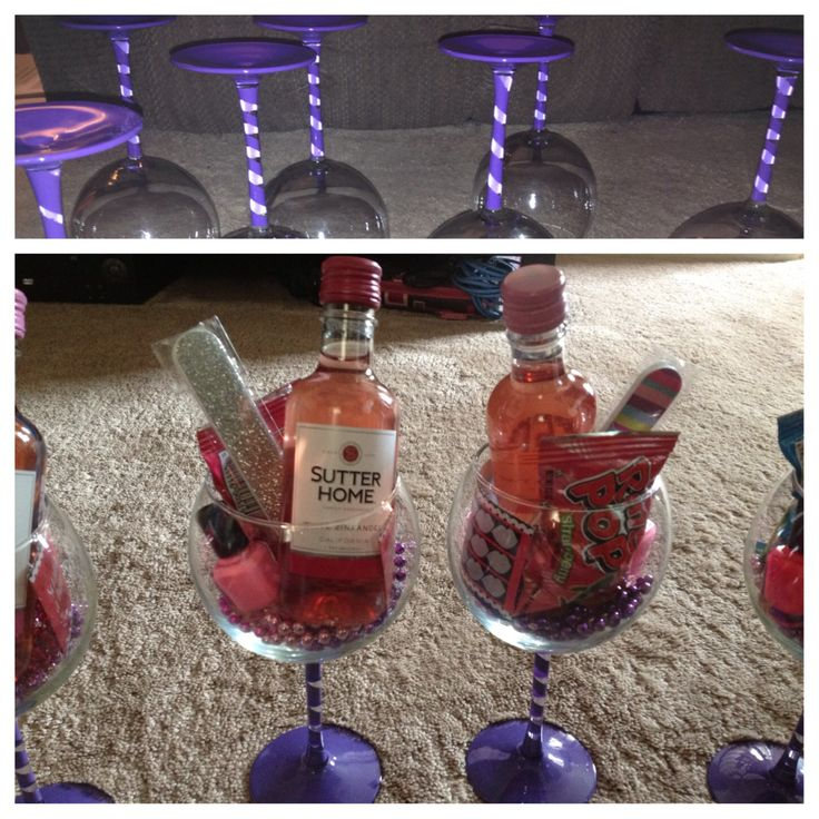 Bachelorette party favors under $10! Painted stem wine glasses filled with mini bottle of wine, nail polish, nail file, ring pop, scratch off dare card and mardi gras beads! To paint: wrap painters tape around stem then spray paint to create spiral then gloss krylon coat to seal!