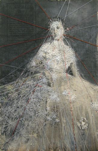Hinke Schreuders (Netherlands), depicts entrapment through the use of embroidery over vintage photographs. Using female subjects in traditional dress and poses, her work alludes to feminine vulnerability. (Text from http://www.madeinslant.com)