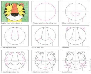 Draw a Tiger Face. PDF tutorial download available. Great for kinders and those that need simple shapes to start. #howtodraw #directdraw #tiger