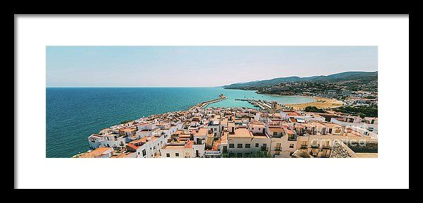 Aerial Panoramic View From Papa Luna Castle Of Peniscola City In Spain Framed Print