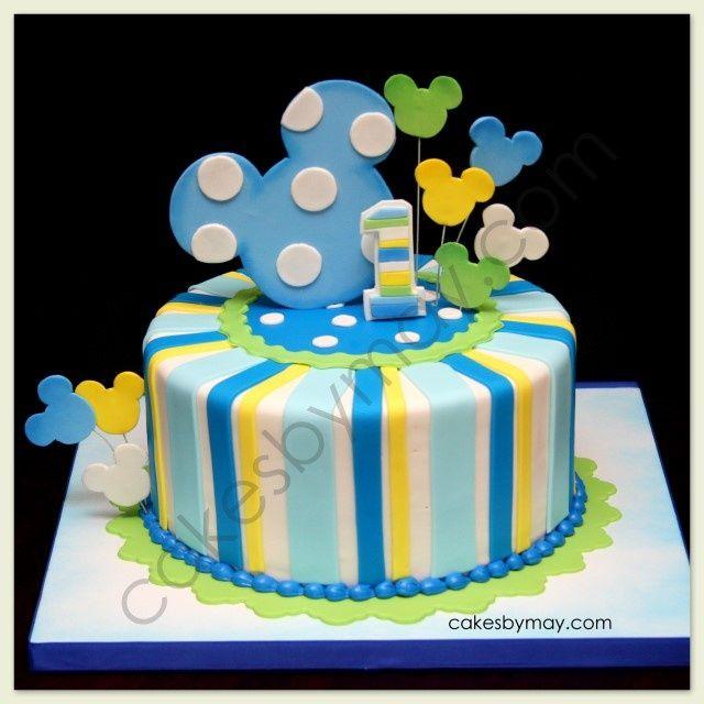 Baby Mickey 1st Birthday Cake