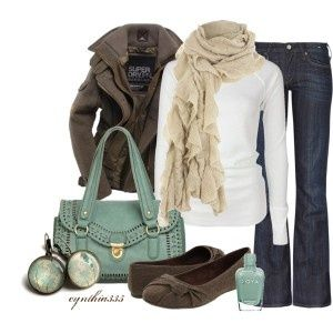 fall outfit. love the brown jacket.