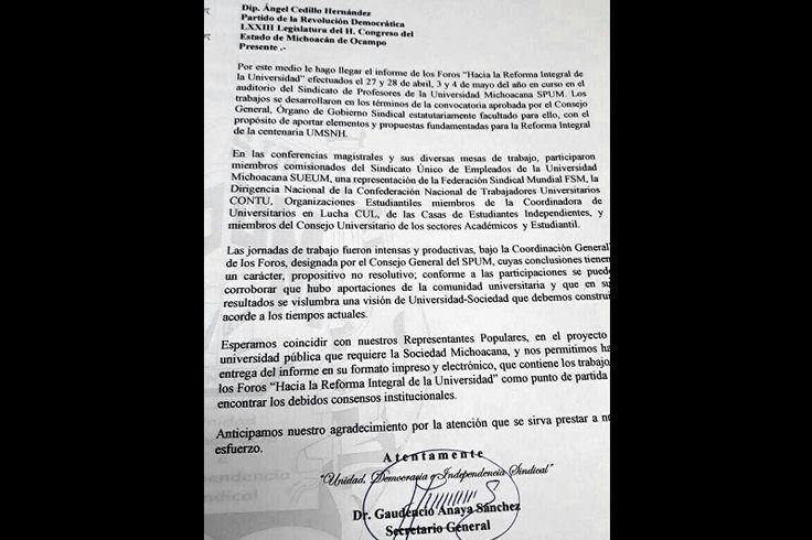 """Empleados sindicalizados de la Universidad Michoacana repudian la """"unilateralidad"""" con la que el rector Medardo Serna está gestando la reforma al Sistema de Jubilaciones y Pensiones; aseguran que el líder ..."""