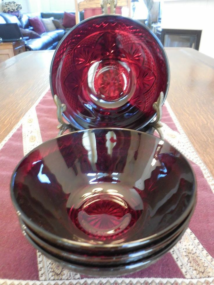 Luminarc Ruby Red Cris D'Arques Durand France Salad Cereal Soup Bowls (Set of 4)