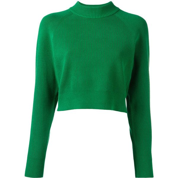 DKNY funnel-neck sweater found on Polyvore featuring tops, sweaters, green, shirts, funnel neck top, green long sleeve top, dkny, green sweater and green top