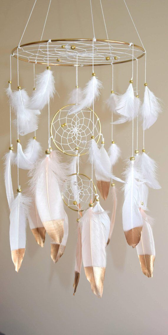 Gold Pink Baby Mobile Nursery Mobile Large Dream Catcher Nursery Mobile Blush Pink, Crib Baby Mobile