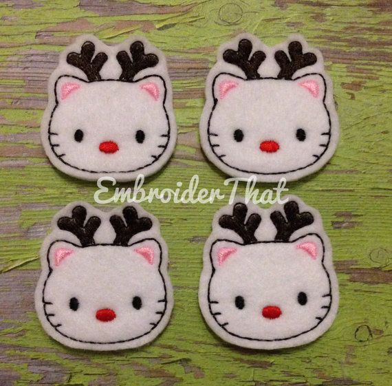 Reindeer kitty felt applique embellishment by EmbroiderThat, $4.25