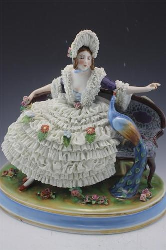 Antique German Dresden Lace Porcelain Lady with Peacock Figurine | eBay