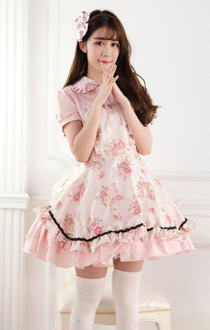 Pink Rose Printing Lolita Dress