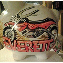 Hand Painted Personalized Dirt Bike Piggy Bank
