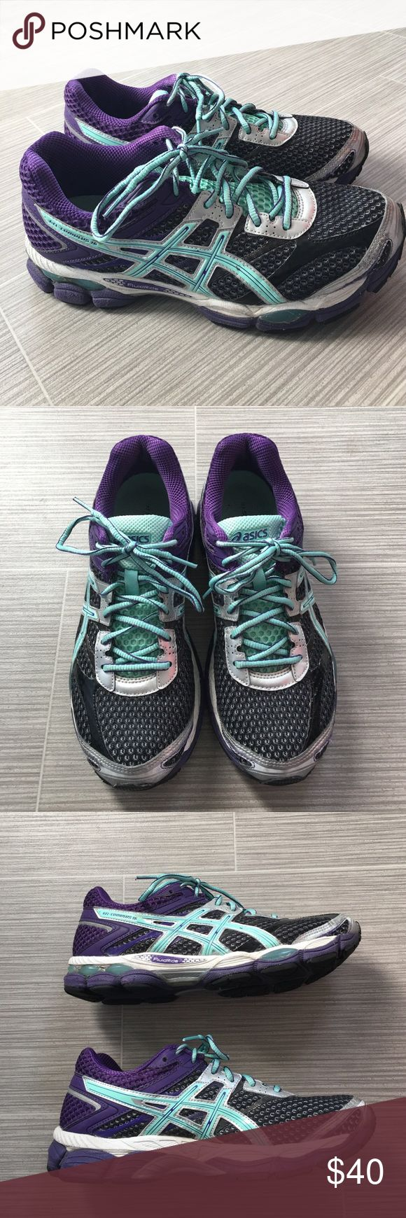 Asics Gel-cumulus 16 size 9.5 Asics Gel-cumulus 16 size 9.5. Worn a handful of times. Purple and light teal sneakers with charcoal color. Asics Shoes Athletic Shoes