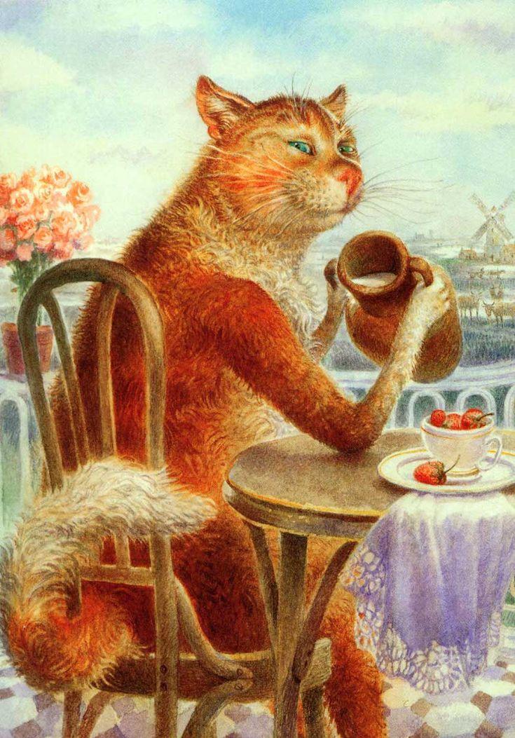 Для одноклассников, открытки питерские коты владимира румянцева