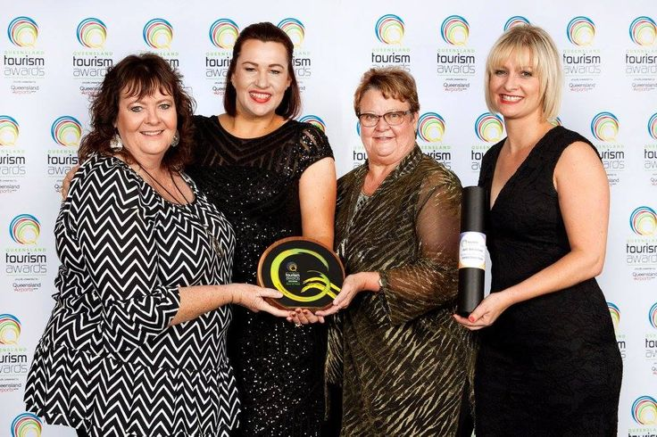 Congratulations to Sarina Sugar shed for taking out gold for Excellence in Food Tourism and as a result enters the Queensland Tourism Awards Hall of Fame #MackayPride.  Congratulations to the staff and volunteers for their continuous excellent effort.  > Glenys Mansfield, Teona Cousin, Karen May and Amanda Camm at the Brisbane Convention & Exhibition Centre.