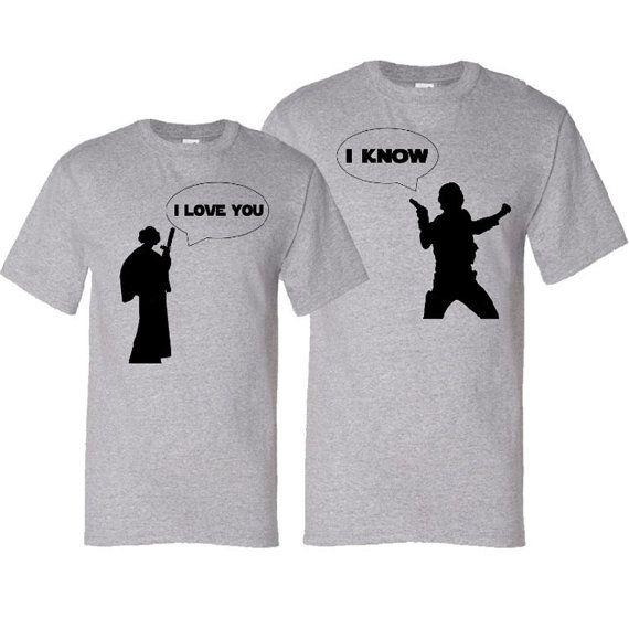 I Love You - I Know - Geek Couple Valentine's Day Matching Silhouette T-Shirt Gift Set - Heather Grey / Black