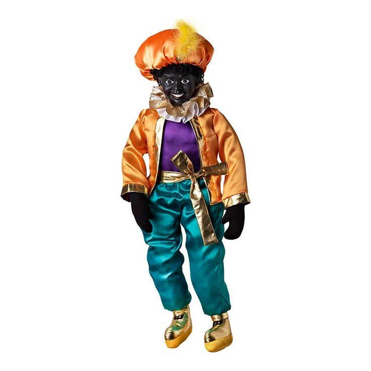 Deze Piet heeft een door Beekwilder ontworpen satijnen pak en mooi gedetailleerd hoofd van polyresin. Met klittenband aan de handen en voeten zodat Piet overal aan kan hangen