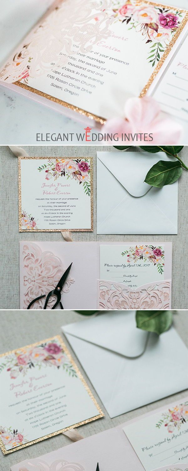 free wedding borders for invitations%0A Romantic blush pink spring flower glittery laser cut pocket wedding  invitation kits EWWS     pinkweddinginvitations